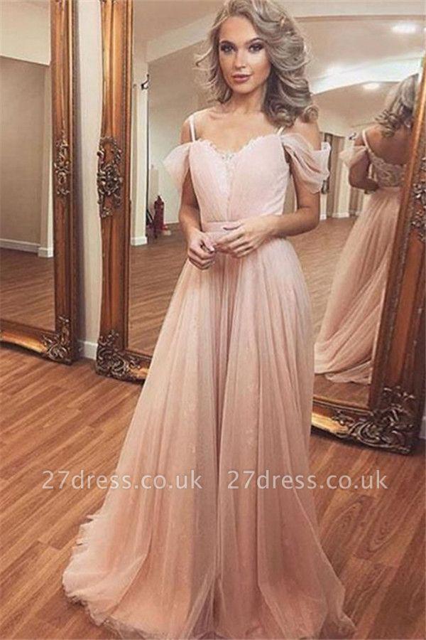 Sexy Spaghetti Strap Lace Appliques Prom Dress UKes UK Lace Sleeveless Evening Dress UKes UK Tulle