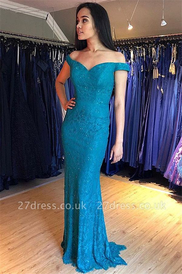 Sexy Off-the-Shoulder Lace Prom Dress UKes UK Mermaid Sleeveless Evening Dress UKes UK with Beads