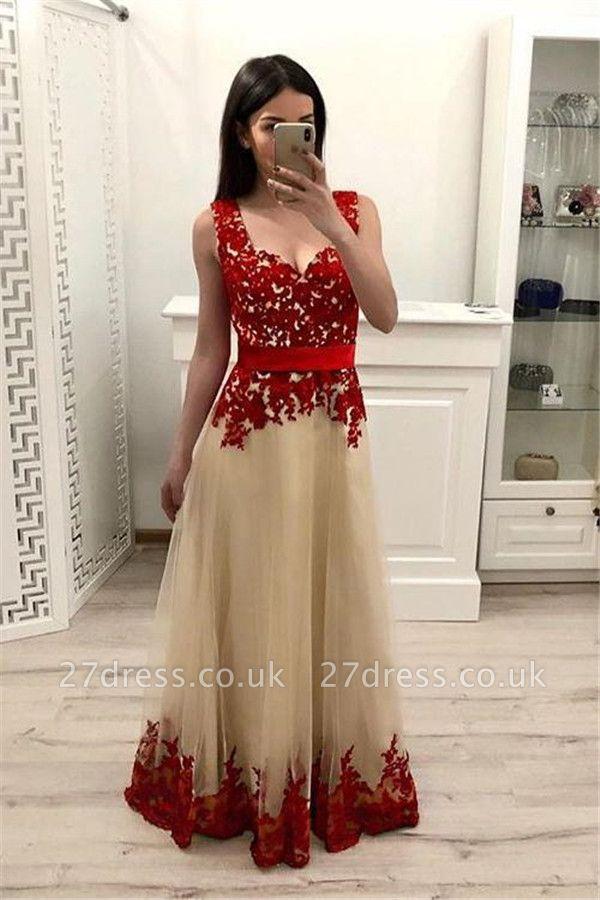 Sexy Lace Appliques Straps Prom Dress UKes UK Sleeveless Evening Dress UKes UK with Ribbons