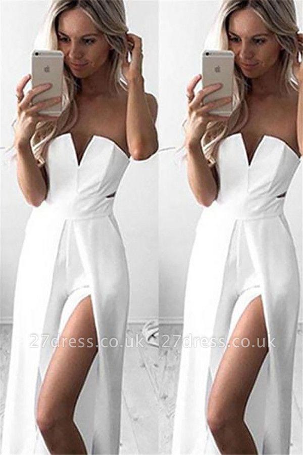 Sweetheart Side Slit Prom Dress UKes UK White Simple Sheath Sexy Evening Dress UKes UK Sleeveless