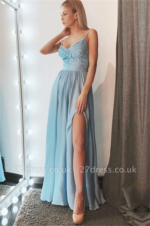 Sexy Spaghetti Strap Applique Prom Dress UKes UK Sleeveless Side Slit Elegant Evening Dress UKes UK Sexy