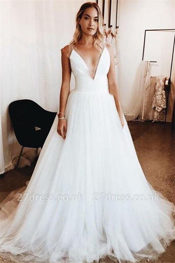 Elegant  V-Neck Applique Wedding Dresses UK Sheer Cheap Sleeveless Floral Bridal Gowns