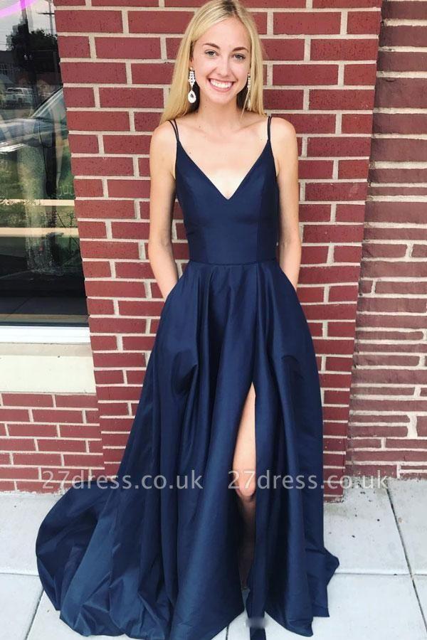 Pocket Spaghetti-Strap Prom Dress UKes UK Side slit Mermaid Sleeveless Evening Dress UKes UK