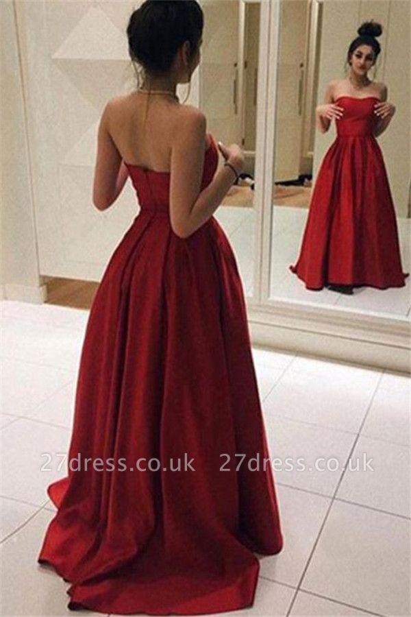 Red Sweetheart Ruffles Prom Dress UKes UK Sleeveless Ball Gown Elegant Evening Dress UKes UK Sexy