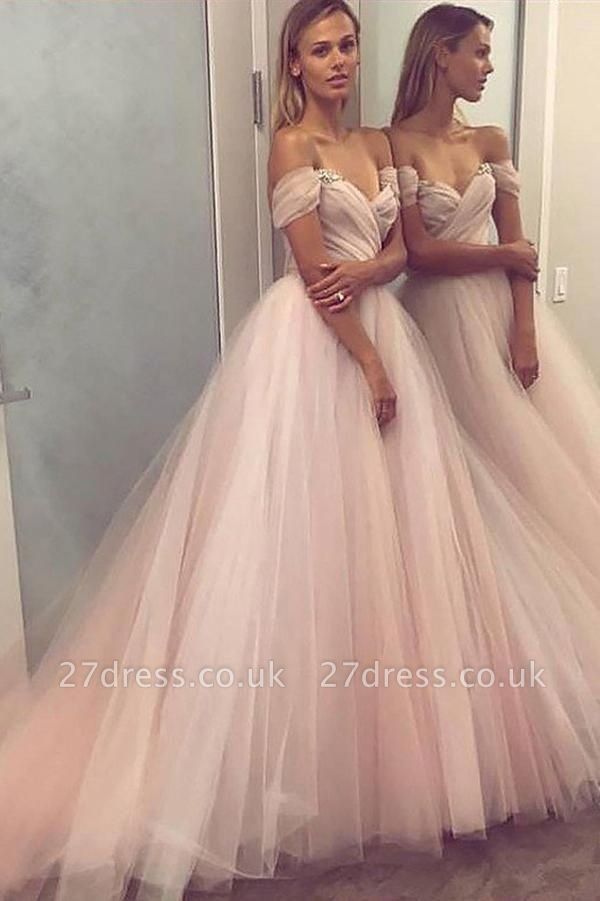 Elegant Crystal Off-the-Shoulder Prom Dress UKes UK Ruffle Sheer Sleeveless Evening Dress UKes UK
