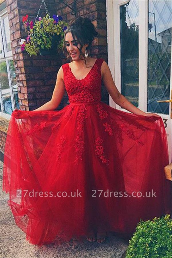 Red Jewel Lace Appliques Sleeveless Prom Dress UKes UK Tulle Evening Dress UKes UK with Beads