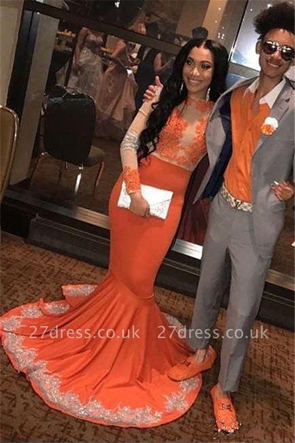 Elegant Mermaid Long Sleeves Appliqued Floor Length Prom Dress UK UKes UK