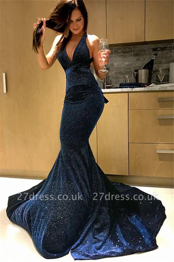 Sexy Halter Sequins Mermaid Prom Dress UKes UK Sleeveless Elegant Evening Dress UKes UK Sexy