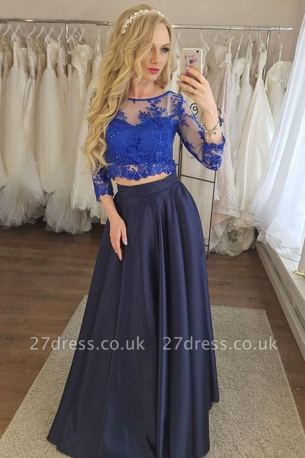 Sexy Two Piece Lace Appliques Prom Dress UKes UK Longsleeves Evening Dress UKes UK with Beads