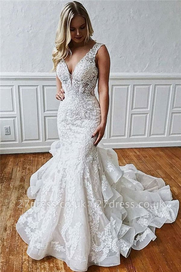 Lace V-Neck  Sexy Mermaid Wedding Dresses UK   Sheer Ruffles Sleeveless Backless Floral Bridal Gowns