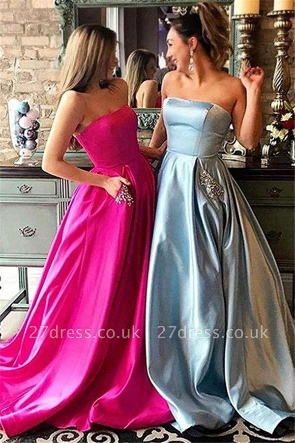 Strapless Beads Ruffles Prom Dress UKes UK Sleeveless Elegant Evening Dress UKes UK with Pocket