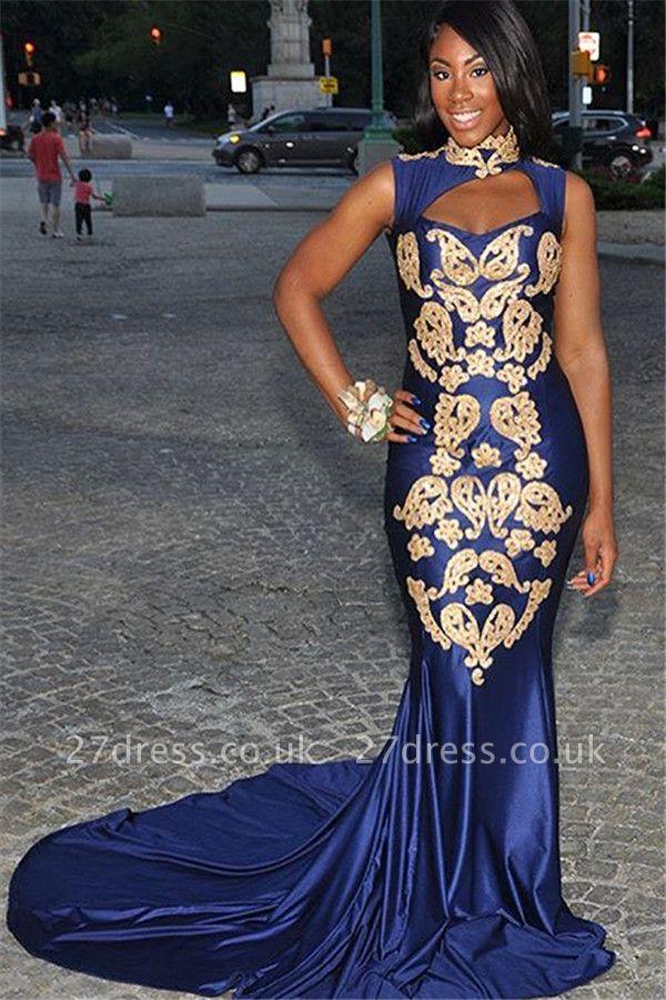 Simple Royal Hign-Neck without Sleeve Applique Elegant Mermaid Prom Dress UK UK