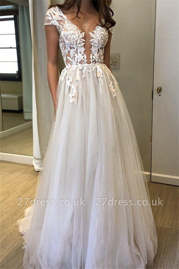 Elegant V-Neck Lace Appliques Prom Dress UKes UK Sheer Sleeveless Evening Dress UKes UK