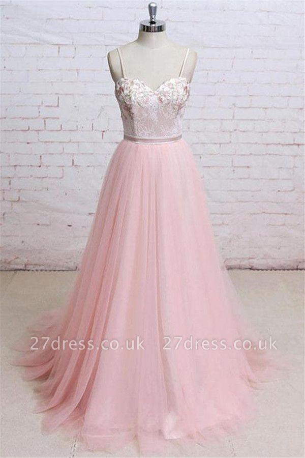 Sexy Lace Appliques Spaghetti-Strap  Prom Dress UKes UK Sheer Backless Bowknot Sleeveless Evening Dress UKes UK