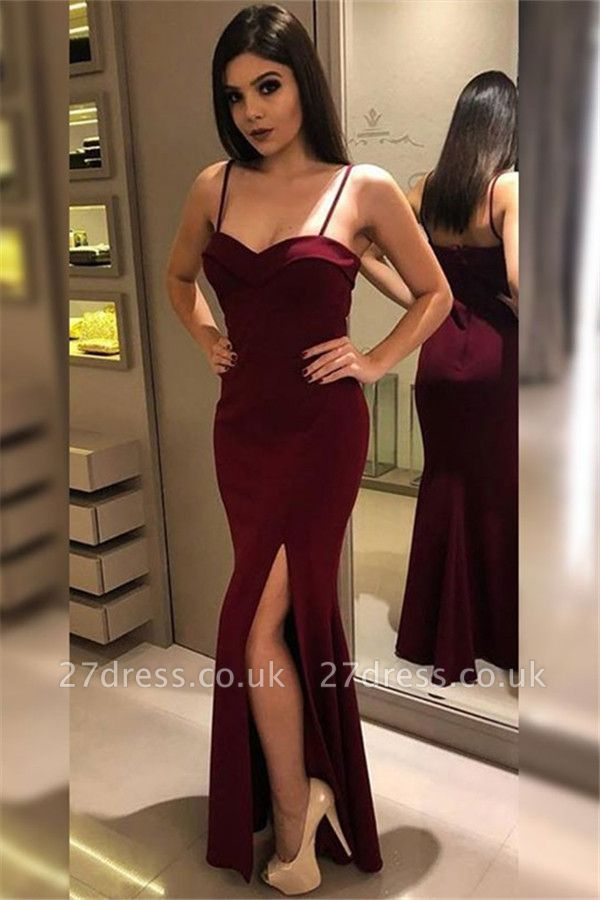 Burgundy Spaghetti Strap Ruffles Prom Dress UKes UK Side Slit Mermaid Sleeveless Elegant Evening Dress UKes UK