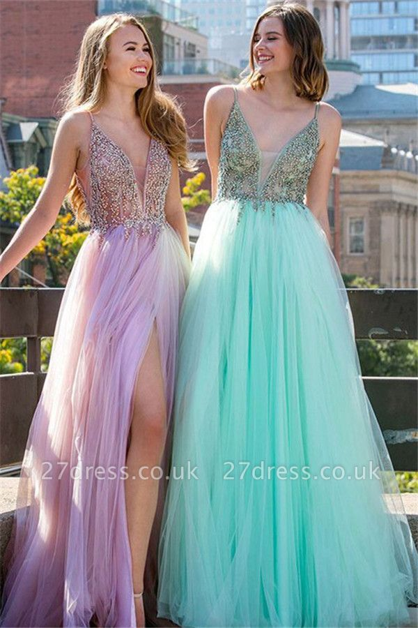 Sequins Spaghetti Strap Prom Dress UKes UK Sleeveless Tulle Side Slit Elegant Evening Dress UKes UK