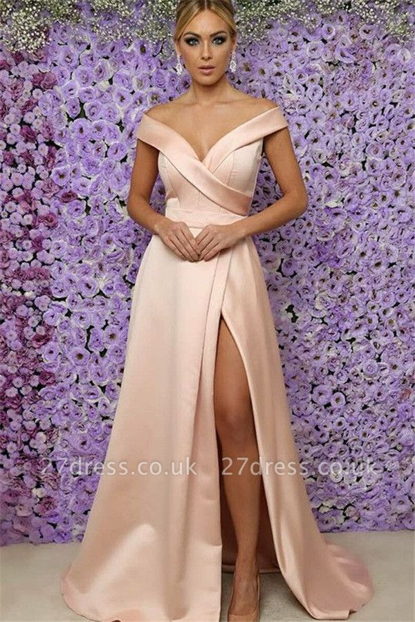Off-the-Shoulder Prom Dress UKes UK Side Slit Sleeveless Elegant Evening Dress UKes UK Sexy