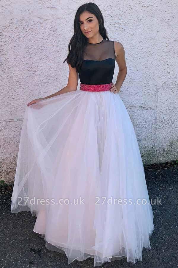 Sexy Sheer Jewel Ribbon Beads Prom Dress UKes UK Sleeveless Evening Dress UKes UK with Bowknot