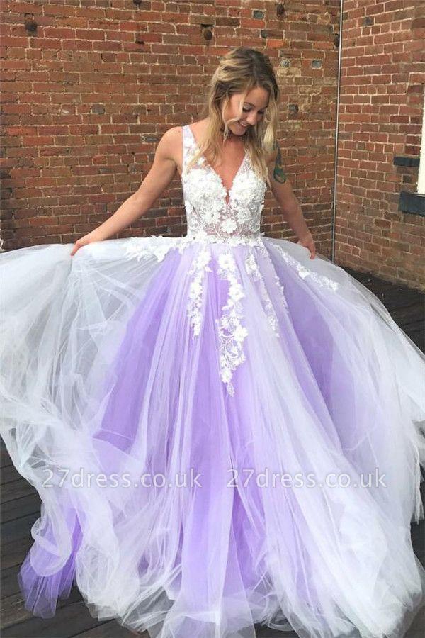 Lace Appliques Elegant V-Neck Prom Dress UKes UK Sheer Sleeveless Evening Dress UKes UK