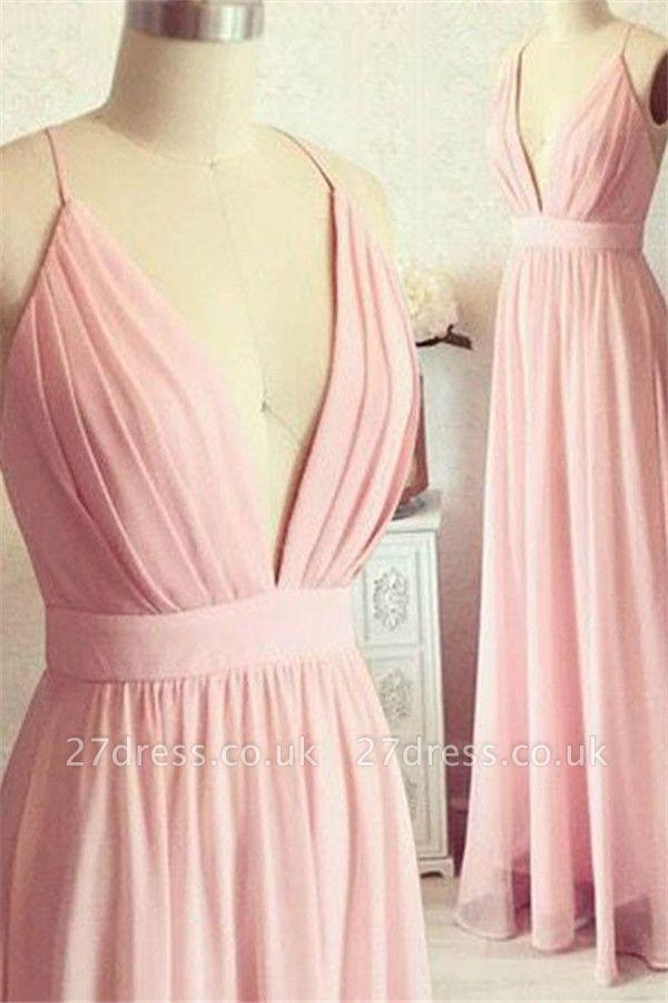 Romactic Pink Spaghetti Strap Ruffles Prom Dress UKes UK Sleeveless Elegant Evening Dress UKes UK with Sash