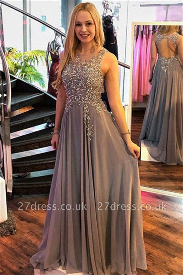 Sexy Jewel Crystal Sleeveless Prom Dress UKes UK Ruffles Sexy Popular Evening Dress UKes UK