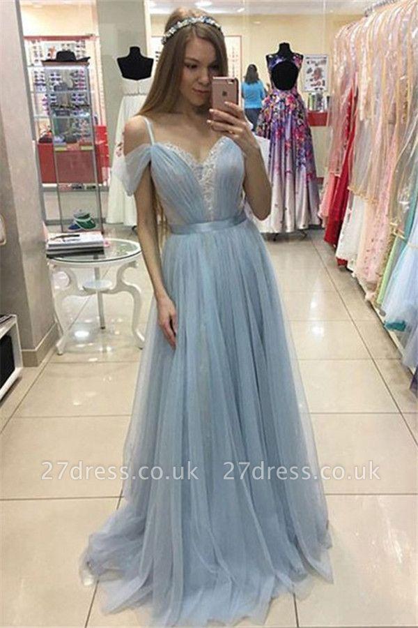 Spaghetti Strap Applique Sleeveless Prom Dress UKes UK Tulle Sexy Elegant Evening Dress UKes UK with Sash