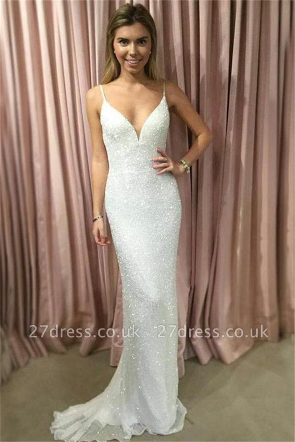 Sexy Sequin Straps Lace Appliques Prom Dress UKes UK Tulle Mermaid Sleeveless Evening Dress UKes UK