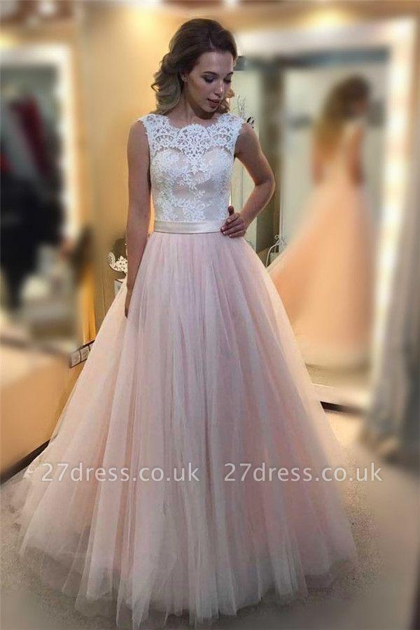 Sexy Sheer Jewel Lace Appliques Prom Dress UKes UK Sleeveless Evening Dress UKes UK with Ribbon
