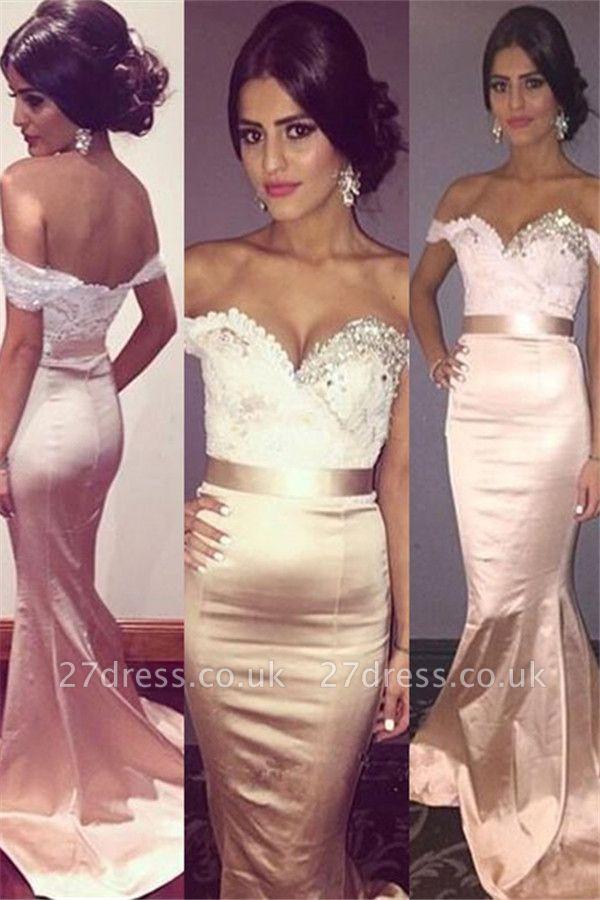 Sexy Off-the-Shoulder Crystal Prom Dress UKes UK Lace Mermaid Sleeveless Elegant Evening Dress UKes UK with Sash