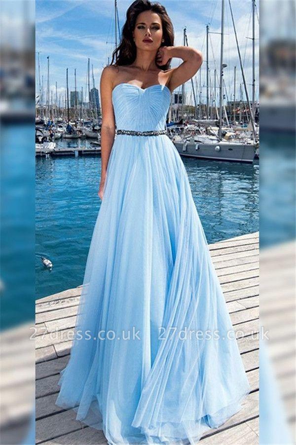 Sexy Sweetheart Ruffles Crystal Prom Dress UKes UK Sleeveless Elegant Evening Dress UKes UK With Sash