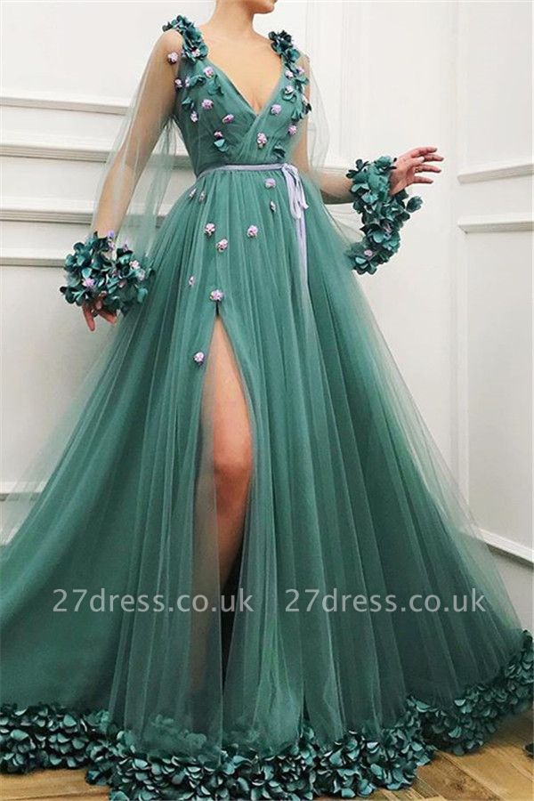 Amazing Green with Sleeves Tulle Side-Split A-Line Prom Dress UK UK