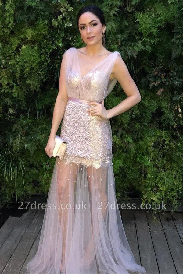 Sheer Sheer Straps Ribbons Crystal Prom Dress UKes UK Mermaid Sleeveless Evening Dress UKes UK with Beads