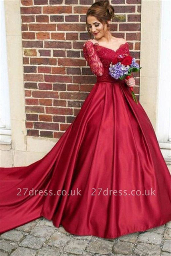 Red Lace Off-the-Shoulder Prom Dress UKes UK Long Sleeves Ball Gown Evening Dress UKes UK