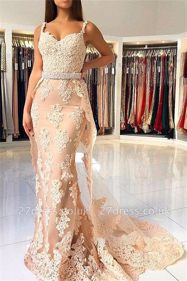 Lace Spaghetti Strap Mermaid Prom Dress UKes UK Sexy Sleeveless Elegant Evening Dress UKes UK with Over-skirt