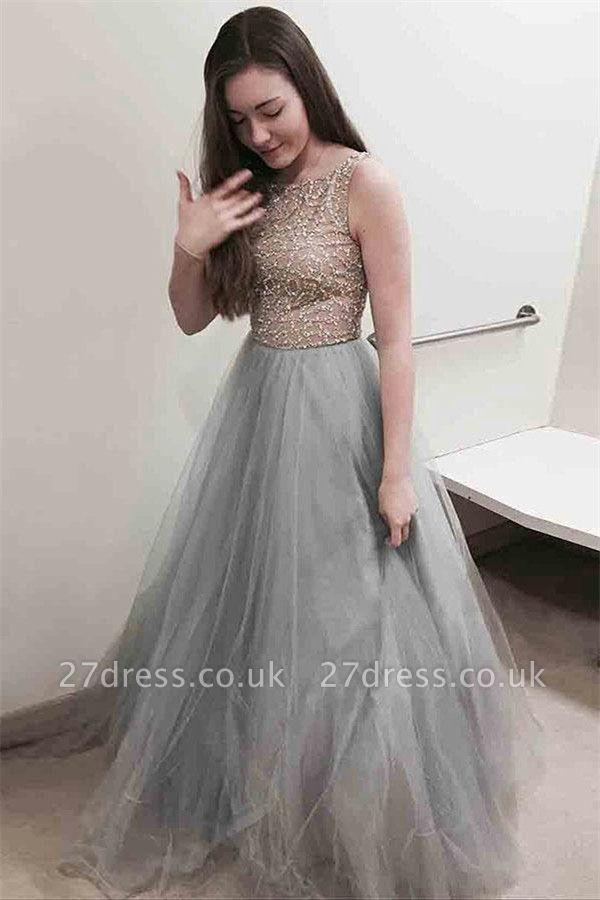 Sexy Lace Appliques Jewel Prom Dress UKes UK Sheer Sleeveless Evening Dress UKes UK