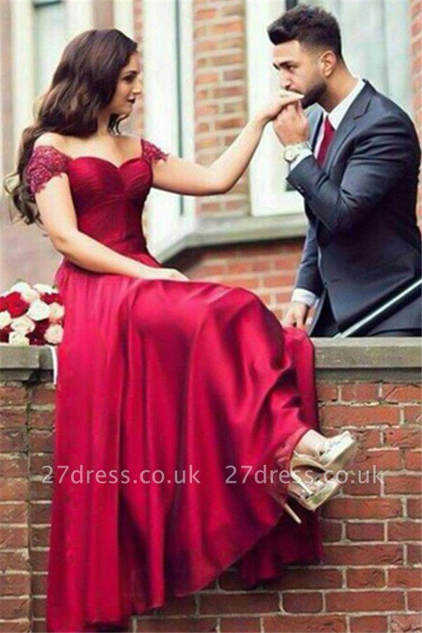 Red Lace Off-the -Shoulder Prom Dress UKes UK Sexy Sleeveless ruffles Evening Dress UKes UK