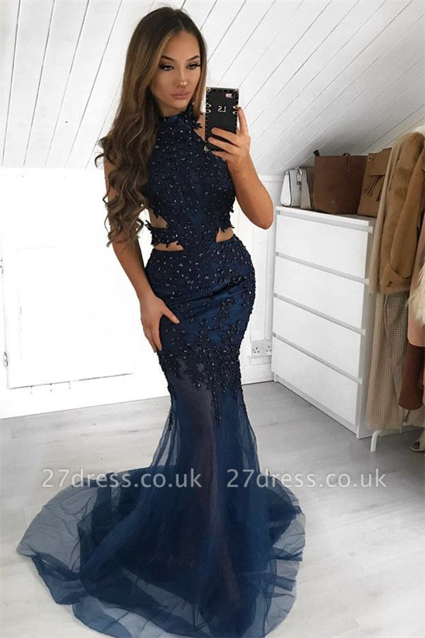 Amazing Halter without Sleeve Sheer-Tulle Elegant Mermaid Prom Dress UK UK