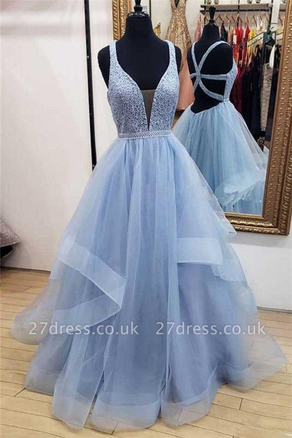 Sexy Lace Straps Lace Appliques Prom Dress UKes UKTiered Lace-Up Sleeveless Evening Dress UKes UK