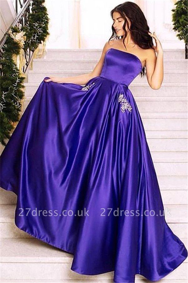 Amazing Purple Strapless without Sleeve Long A-Line Prom Dress UK UK