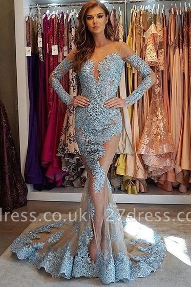 Elegant Mermaid Sheer Lace Appliques Long Sleeves Sweep Train Prom Dress UK UKes UK
