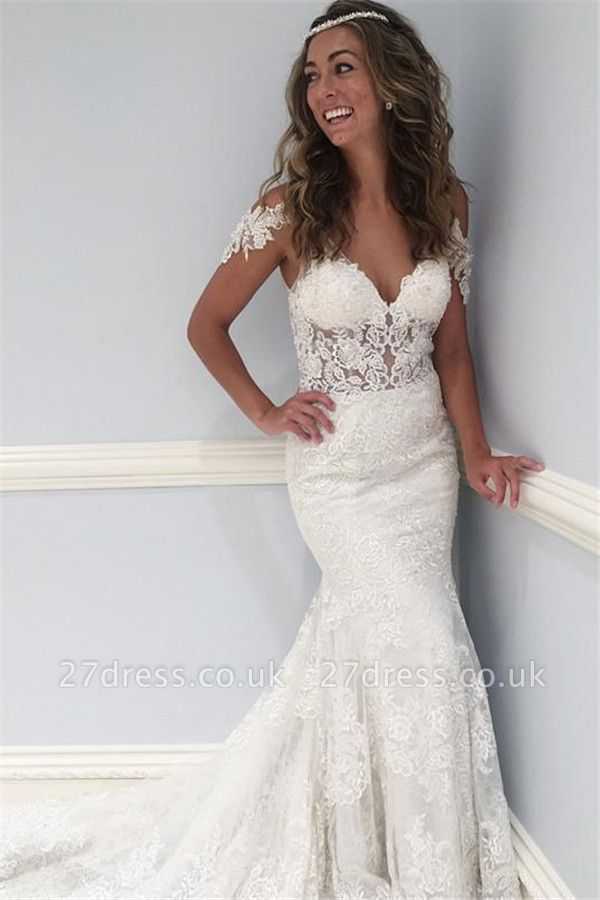 Lace V-Neck Wedding Dresses UK | Ruffles Sheer Cap Sleeve Floral Bridal Gowns