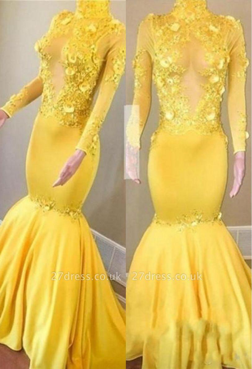 Sexy Yellow High Neck Flower Lace Appliques Elegant Mermaid Long Sleeves Prom Dress UK UKes UK