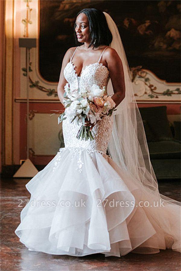 Elegant Spaghetti-Strap Appliques Wedding Dresses UK | Rubbons  Sexy Mermaid Sleeveless Floral Bridal Gowns