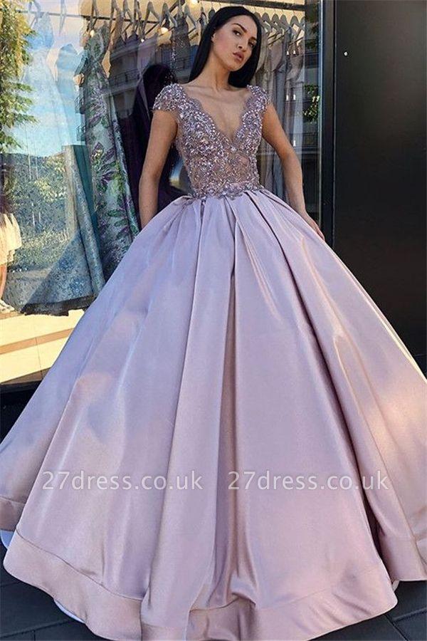 Alluring V-Neck without Sleeve Crystal Beading Ball-Gown Prom Dress UK UKes UK