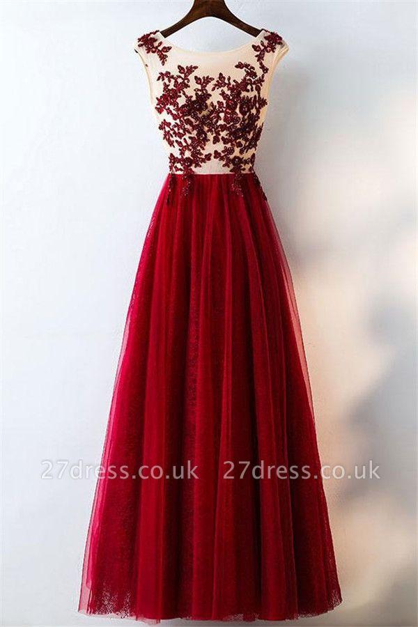 Lace Appliques Jewel Prom Dress UKes UK Tulle Sleeveless Evening Dress UKes UK with Beads