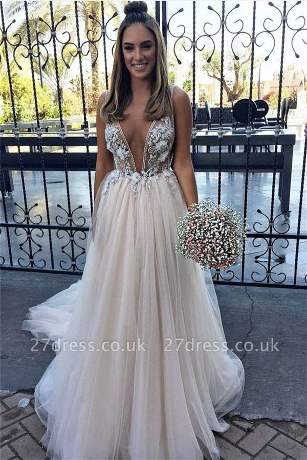 Sexy Flower Lace Appliques Elegant V-Neck Prom Dress UKes UK Sheer Sleeveless Evening Dress UKes UK with Crystal