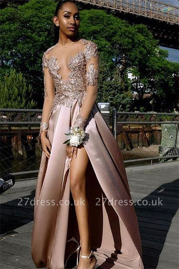 Amazing with Sleeves Side Slit Open back Applique A-Line Long Prom Dress UK UK