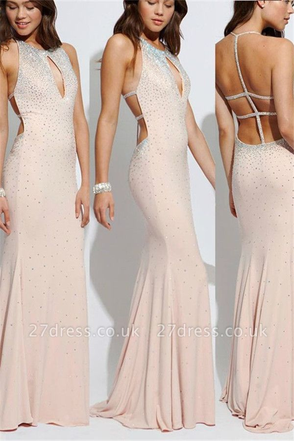 Sexy Lace Up Halter Beads Prom Dress UKes UK Mermaid  Keyhole Evening Dress UKes UK Sexy