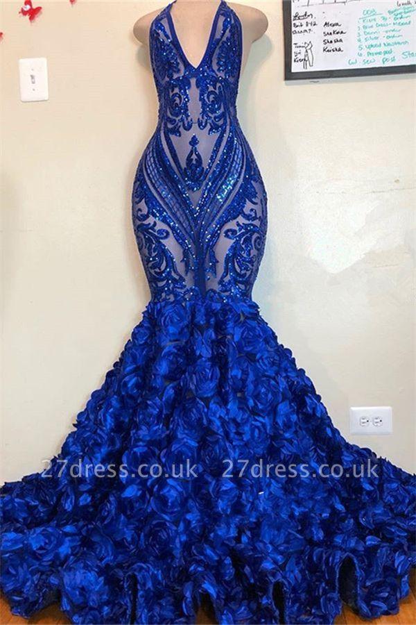 Alluring V-Neck Halter Sequins Pattern Floral Sweep Train Prom Dress UK UKes UK