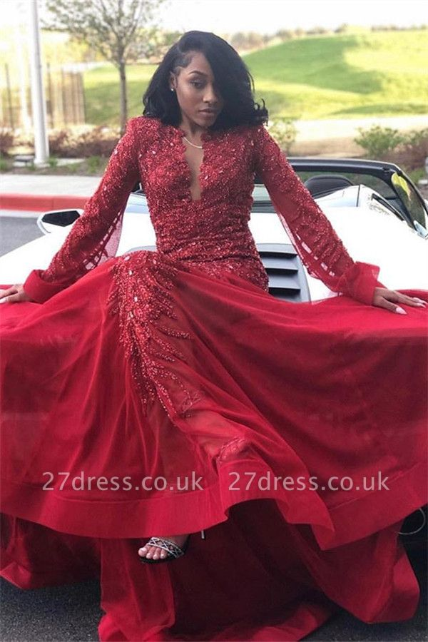 Sexy Lace Appliques Long Sleeves Prom Dress UKes UK Red Keyhole Falbala Evening Dress UKes UK With Beads